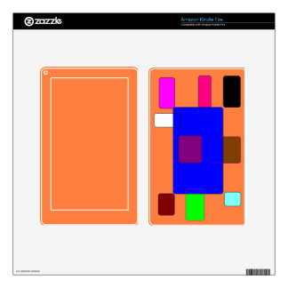 Tab – Colorful Abstract Art on Orange Background Decals For Kindle Fire