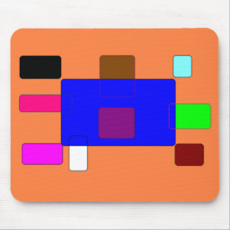 Tab – Colorful Abstract Art on Orange Background Mouse Pad