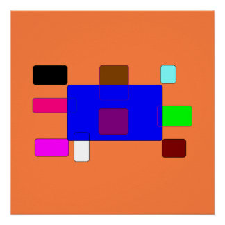 Tab – Colorful Abstract Art on Orange Background Poster