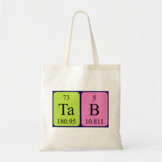 Tab periodic table name tote bag