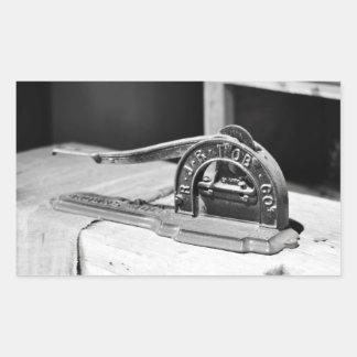 Tabaco Cutter~Antique Tobacciana del vintage Pegatina Rectangular