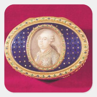Tabaquera con una miniatura del retrato de Louis Calcomanía Cuadrada