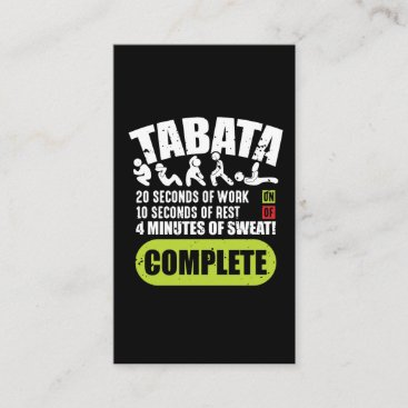 Tabata Workout Fitness Bootcamp Cardio Business Card