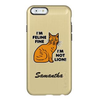 Tabby anaranjado del retruécano divertido del gato funda para iPhone 6 plus incipio feather shine
