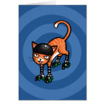 Tabby anaranjado en rollerskates felicitaciones