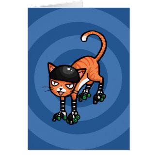 Tabby anaranjado en rollerskates tarjeta de felicitación