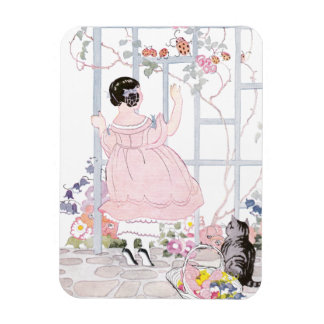 Tabby Cat and Girl by Trellis with Flowering Vine Magnet