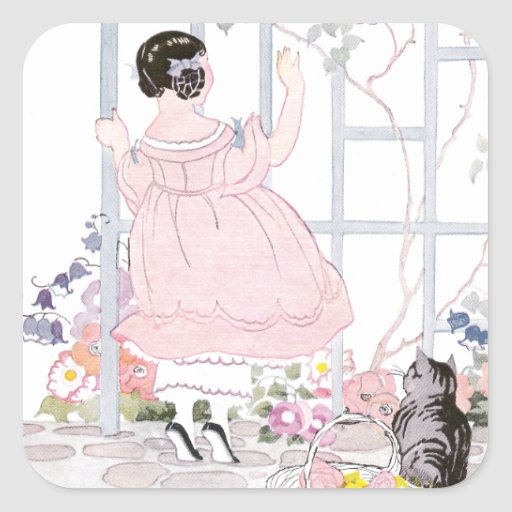 Tabby Cat and Girl by Trellis with Flowering Vine Square Sticker