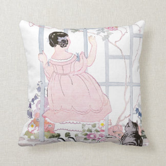 Tabby Cat and Girl by Trellis with Flowering Vine Throw Pillow