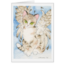 Tabby cat angel customizable notecard