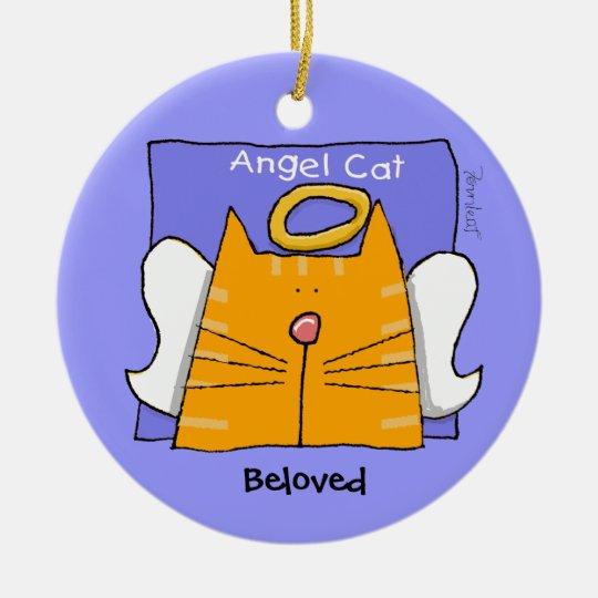 Tabby Cat Angel Keepsake Ceramic Ornament