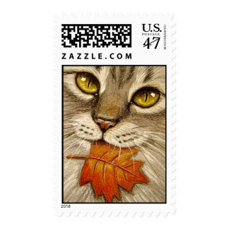 Tabby Cat & Autumn Leaf Postage