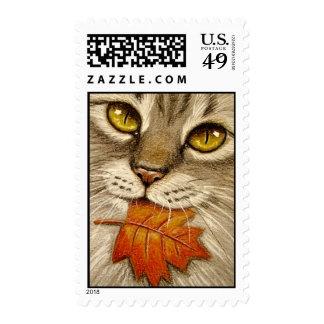 Tabby Cat & Autumn Leaf Postage Stamp