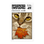 Tabby Cat & Autumn Leaf Stamp