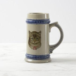 Tabby cat beer stein