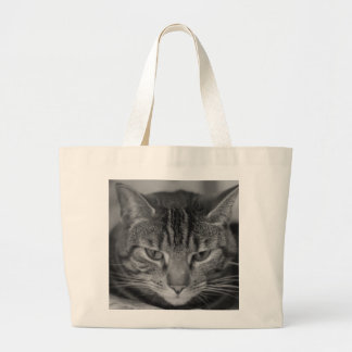 Tabby Cat Black and White Photo Bag