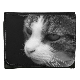 Tabby Cat - Black and White Portrait Photograph Wallets