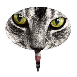 Tabby Cat Black, Gray and White Closeup Cake Topper