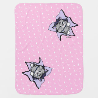 Tabby Cat BLAST Pink Baby Blanket