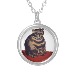 Tabby Cat by Henri Rousseau Round Pendant Necklace