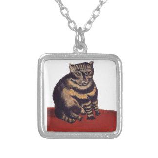 Tabby Cat by Henri Rousseau Square Pendant Necklace