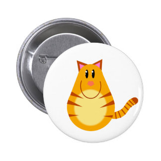 Tabby Cat Cartoon Pinback Buttons