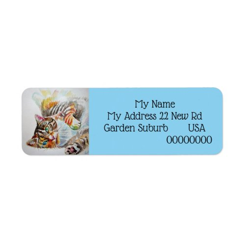 Tabby Cat cats Watercolour Return Address Labels