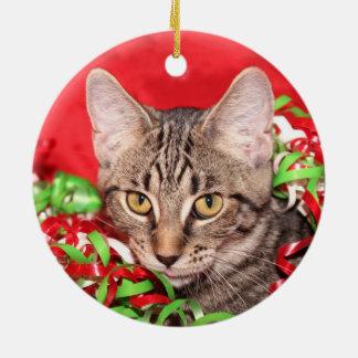 Tabby cat Christmas Ceramic Ornament