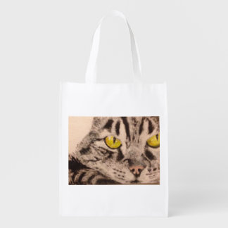Tabby Cat Close-Up Grocery Tote Market Tote