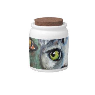 Tabby Cat eyes Monarch Butterfly Candy Jar