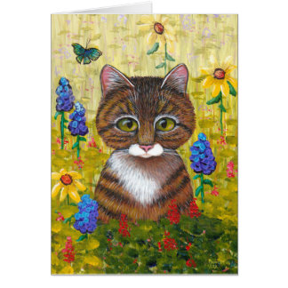 Tabby Cat Flowers Floral Art Creationarts Card