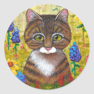 Tabby Cat Flowers Floral Art Creationarts Classic Round Sticker