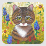Tabby Cat Flowers Floral Art Creationarts Square Sticker