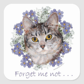 Tabby Cat Forget-Me-Not Square Sticker