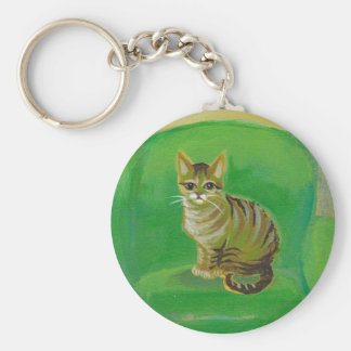 Tabby cat from original painting of pets on sofa basic round button keychain