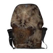 Tabby cat fur print messenger bag