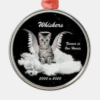 Tabby Cat Guardian Angel Pet Memorial Metal Ornament