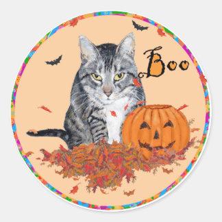Tabby Cat Halloween Classic Round Sticker