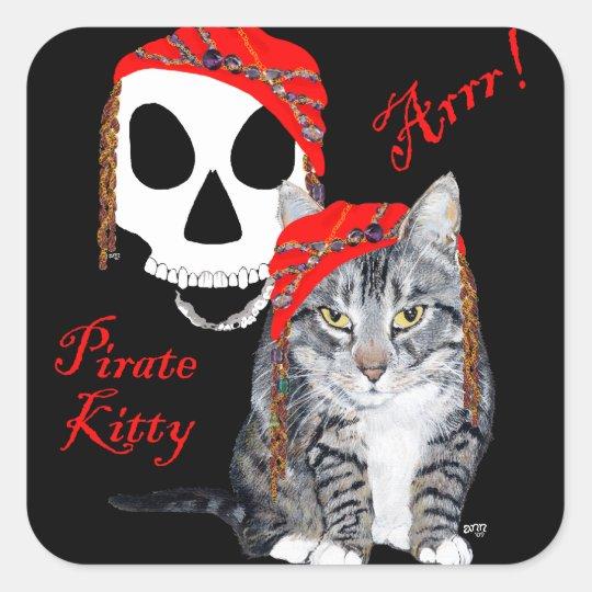 Tabby Cat Halloween Pirate Square Sticker