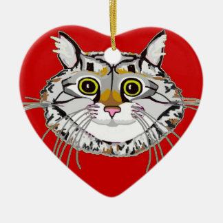 Tabby Cat Heart Ornament
