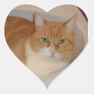 Tabby cat heart sticker