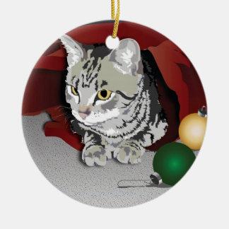 Tabby Cat Holiday Ornament