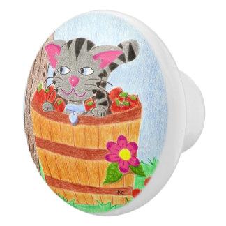 Tabby cat in an apple basket ceramic knob