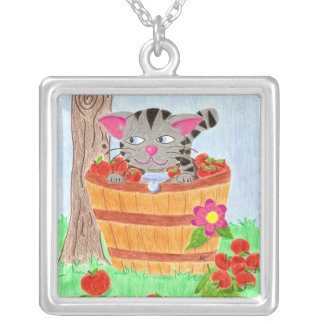 Tabby cat in an apple basket necklace