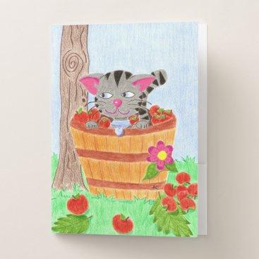 Beach Themed Tabby cat in an apple basket pocket folders