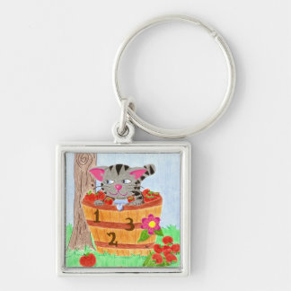 Tabby cat in an apple basket square keychain
