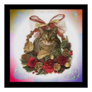 Tabby Cat in Christmas basket Poster