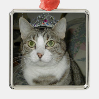 Tabby Cat in Crown Metal Ornament