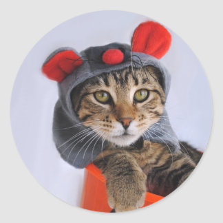 Tabby Cat In Mouse Costume Stickers