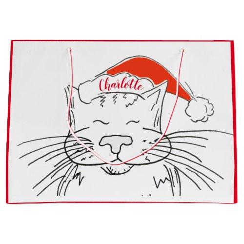 Tabby cat in Santa hat Christmas Large Gift Bag